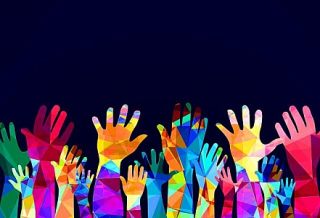 Colorful-hands-up--happiness-or-help-concept